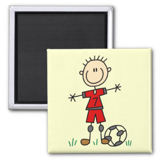 Boy Red Uniform Soccer T-shirts and Gifts 2 Inch Square Magnet