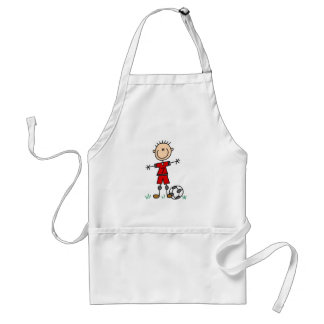 Boy Red Uniform Soccer T-shirts and Gifts Adult Apron