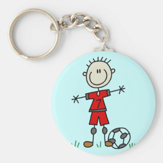 Boy Red Uniform Soccer T-shirts and Gifts Keychain
