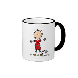 Boy Red Uniform Soccer T-shirts and Gifts Ringer Mug