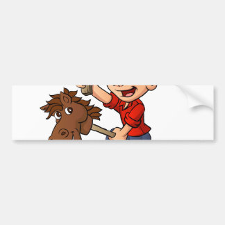 Boy riding a stick horse. bumper sticker