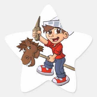 Boy riding a stick horse. star sticker