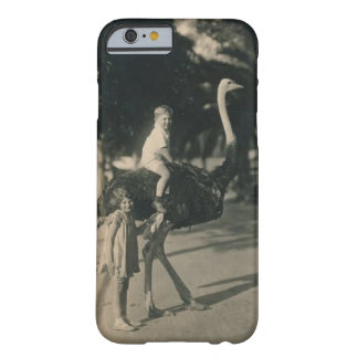 Boy Riding an Ostrich Vintage Postcard Motif Barely There iPhone 6 Case