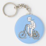 Boy Riding Antique Tricycle Key Chain