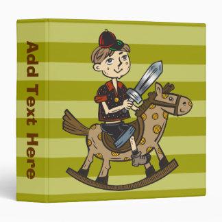 Boy Riding Rocking Horse 3 Ring Binder