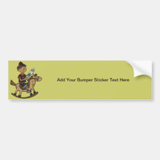 Boy Riding Rocking Horse Bumper Sticker