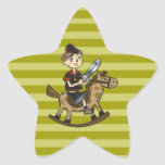 Boy Riding Rocking Horse Star Stickers