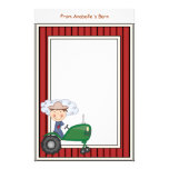 Boy Riding Tractor Barn Frame Kids Writing Paper Stationery