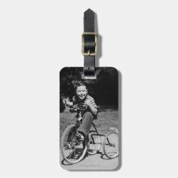 Boy Riding Tricycle Bag Tag