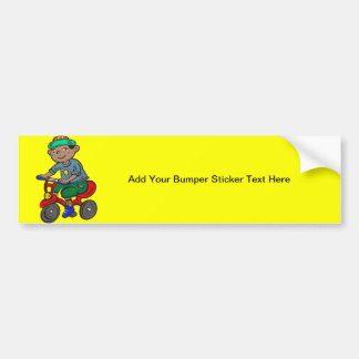Boy Riding Tricycle Bumper Sticker