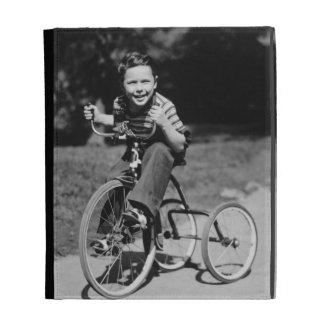 Boy Riding Tricycle iPad Folio Cover