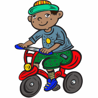 Boy Riding Tricycle Cutout