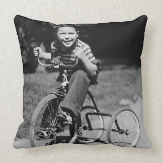 Boy Riding Tricycle Pillow
