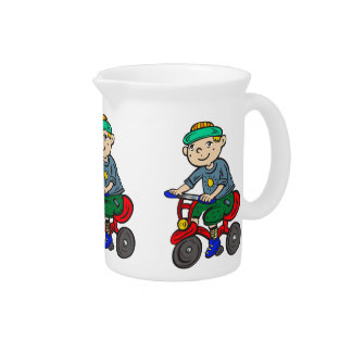 Boy Riding Tricycle Drink Pitcher