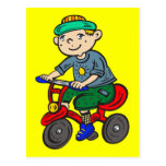 Boy Riding Tricycle Postcards