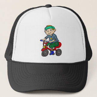 Boy Riding Tricycle Trucker Hat