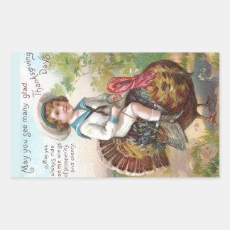 Boy Riding Turkey Vintage Thanksgiving Rectangular Sticker
