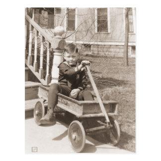 Boy Riding Wagon Postcard