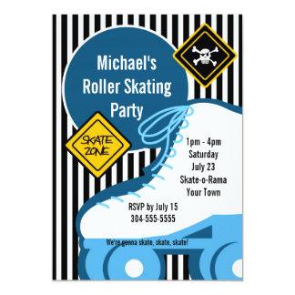 "Boy Roller Skating Birthday Party 5"" X 7"" Invitation Card"