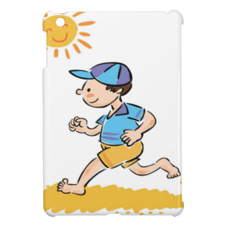 Boy running while barefoot iPad mini cases