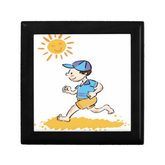 Boy running while barefoot jewelry boxes