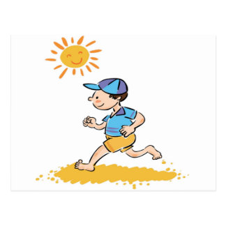 Boy running while barefoot postcard