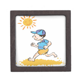Boy running while barefoot premium gift boxes