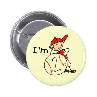 Boy s Baseball I m 2 Tshirts and Gifts Pin