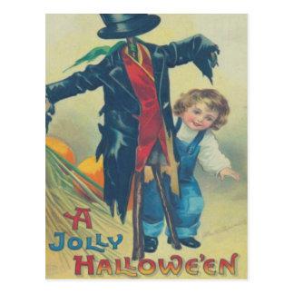 Boy & Scarecrow Postcard