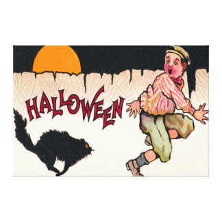 Boy Scared Black Cat Full Moon Fence Run Canvas Print