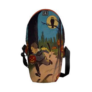 Boy Scared By Jack O' Lanterns Courier Bag