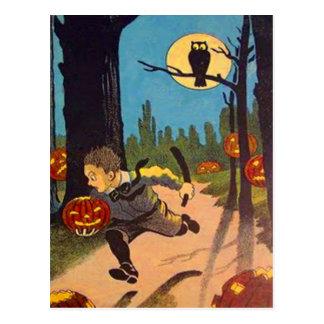 Boy Scared By Jack O' Lanterns Postcard