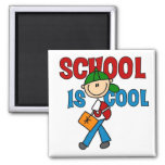 Boy School is Cool 2 Inch Square Magnet