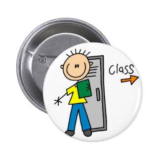 Boy School Stick Figure Button