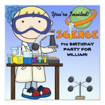 "Boy Science Birthday Party Invitation 5.25"" Square Invitation Card"