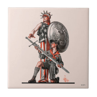 Boy Scout and Liberty Ceramic Tile