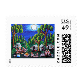 Boy Scouts Camp Out Folk Art Postage Stamps