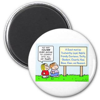 boy scouts comply brave trustworthy loyal kind refrigerator magnet