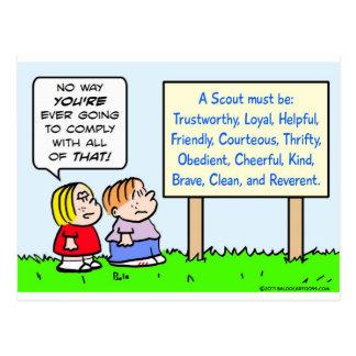 boy scouts comply brave trustworthy loyal kind postcard
