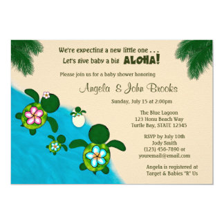 BOY Sea TURTLE Baby Shower Family BLUE Honu 284 Card