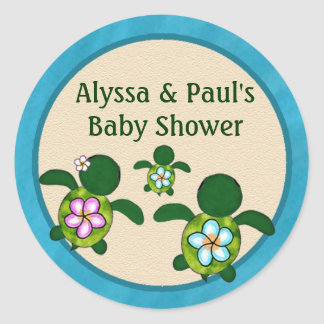 BOY Sea TURTLE Baby Shower (Honu) 02B blank #01 Classic Round Sticker