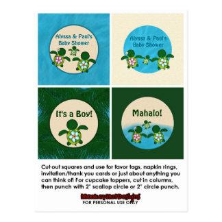 BOY Sea TURTLE Baby Shower Honu Cupcake Topper 02B Postcard