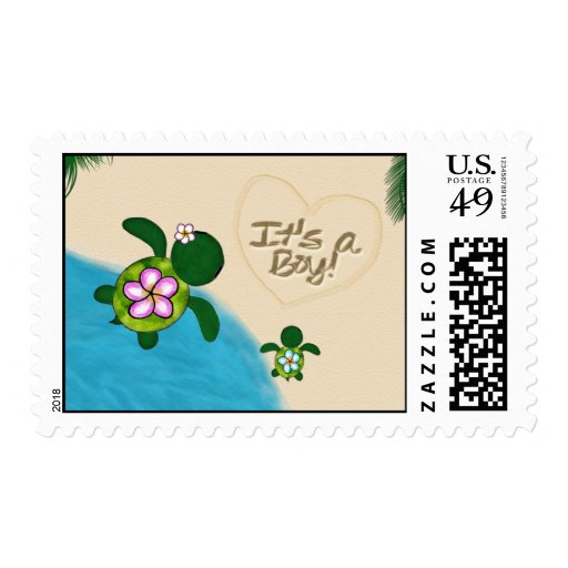 BOY Sea TURTLE Baby Shower Postage BLUE (Honu) 02A