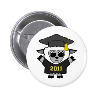 Boy Sheep Black & Gold 2011 Grad Pinback Button