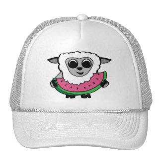 Boy Sheep Eating Watermelon Trucker Hats