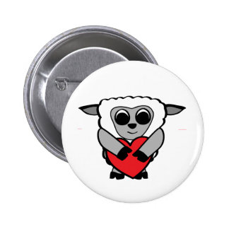Boy Sheep with Big Heart Pinback Buttons