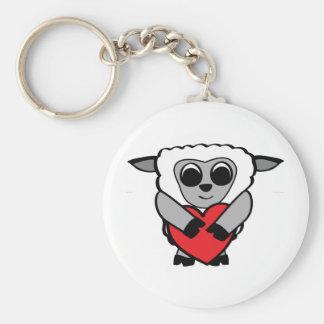 Boy Sheep with Big Heart Key Chain