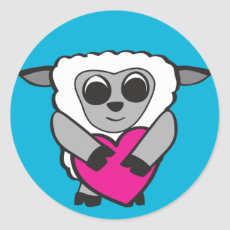 Boy Sheep with Big Heart Sticker