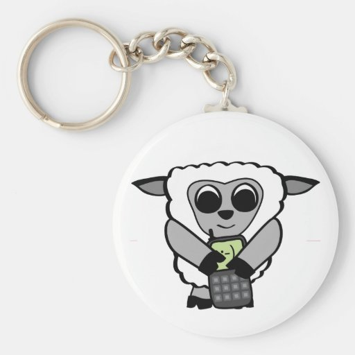 Boy Sheep with Cell Phone Key Chain