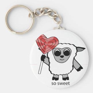 Boy Sheep with Heart Lollipop Keychain